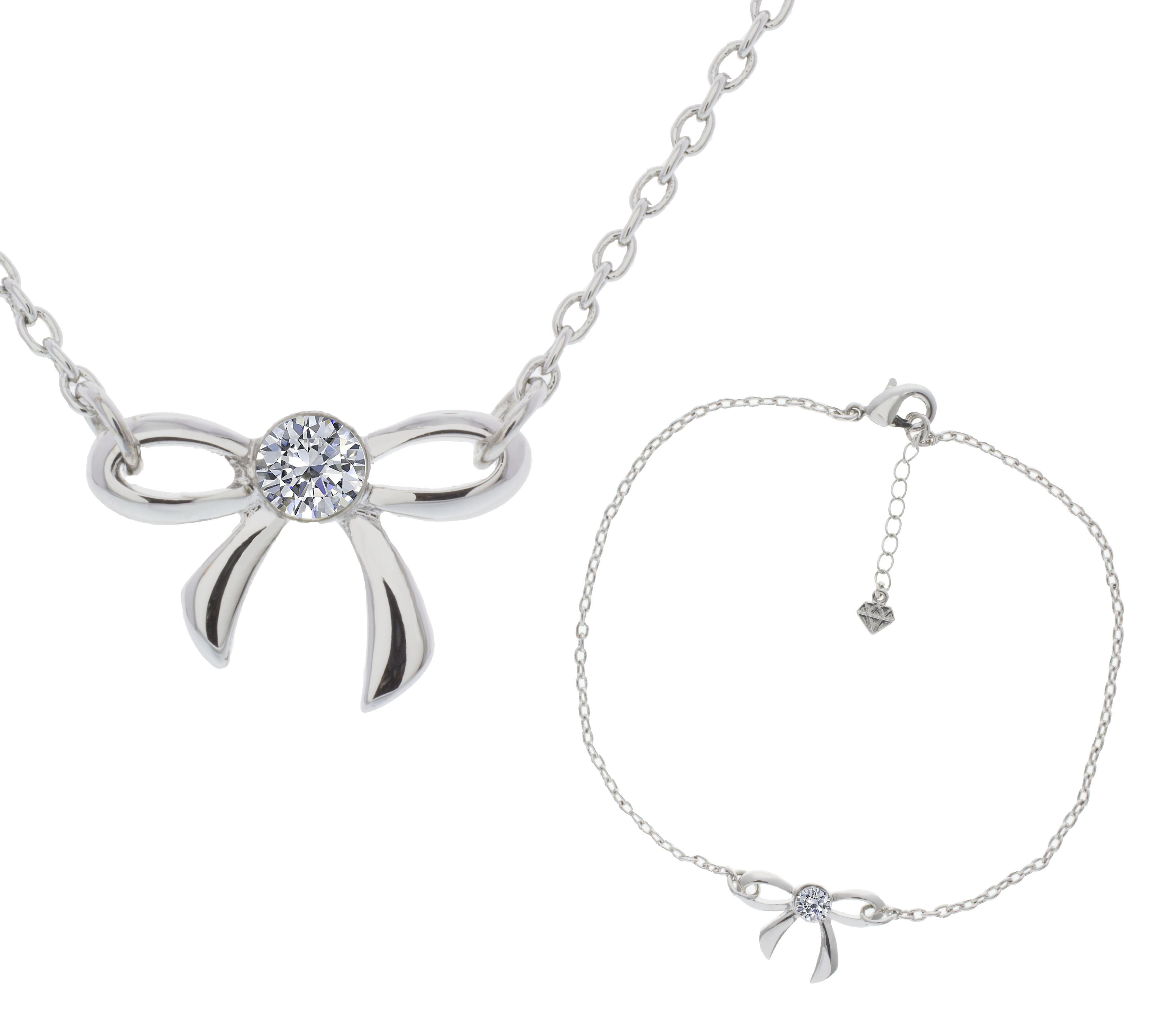 Bow Pendant and Anklet, Made with Swarovski Elements