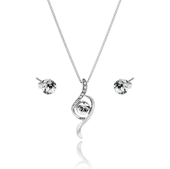 Crystal Bow Pendant and Solo Stud Earrings Set