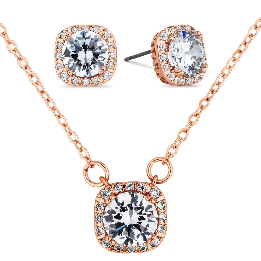 Affinity Pendant and Earring Set in Rose Gold Plating