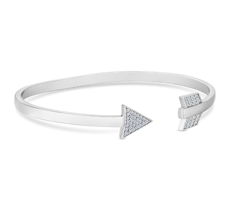 Arrow Bangle with Crystals in Rhodium Plating