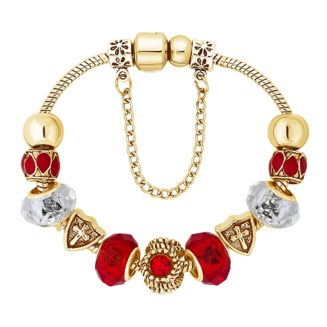 Ava Bracelet in Red with Gold Plating