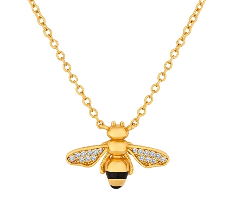 Bee Pendant in Gold Plating with Crystals
