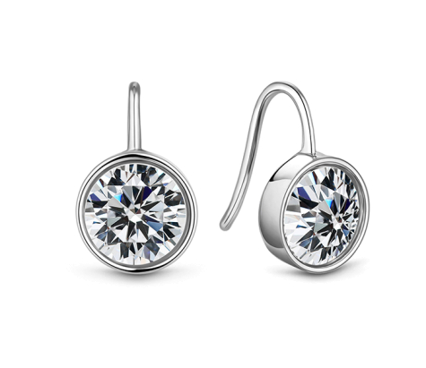 Bella Crystal drop earring in rhodium plating