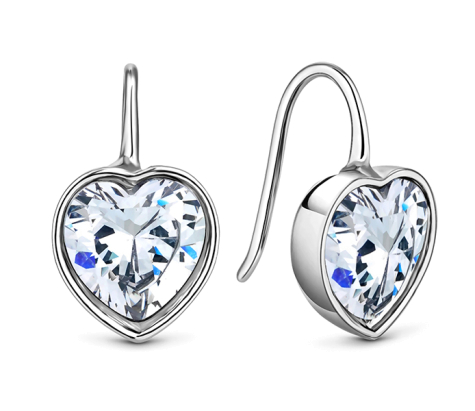 Bella heart earrings in rhodium plating with clear crystal