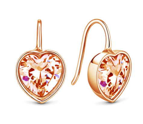 Bella heart earrings in rose gold plating with rose crystal
