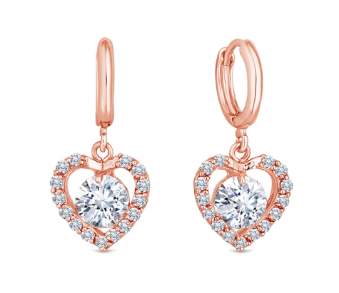 Caged Heart Earrings in Rose Gold Plating
