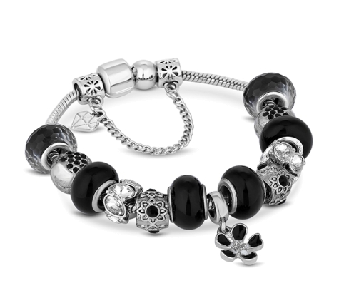 Charm Bracelet with Black Charms
