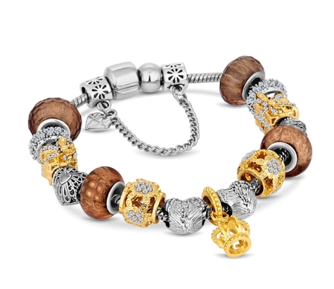 Charm Bracelet with Mixed Metal Charms