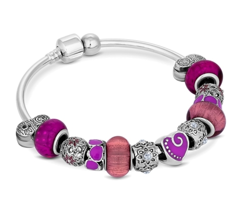 Charm Bracelet with Purple Charms on Solid Bangle