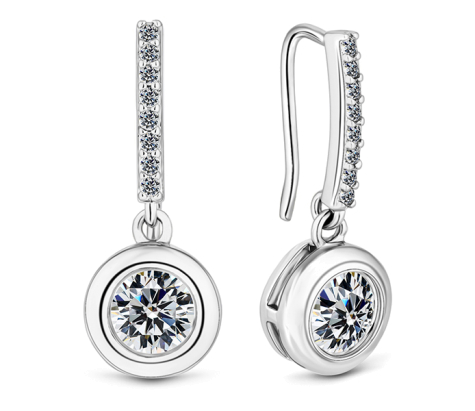 Circle surround drop earrings with crystals in rhodium plating