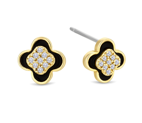 Clover earrings in yellow gold plating