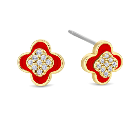 Clover earrings in yellow gold plating with red enamel