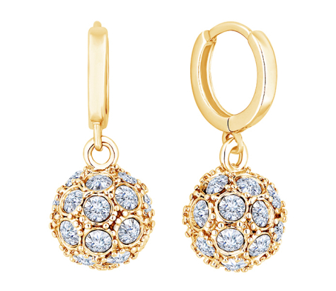 Crystal Ball Earrings in Yellow Gold Plating