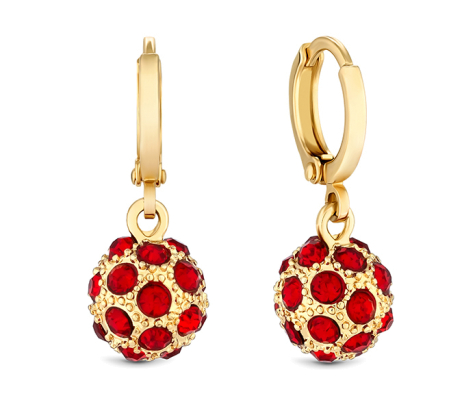 Crystal ball earring in yellow gold with red crystals