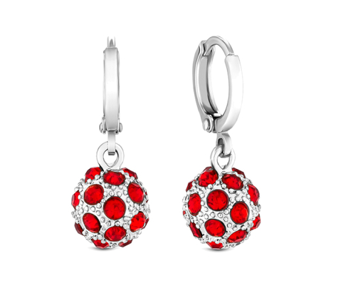 Crystal Ball Earrings in rhodium with red crystals