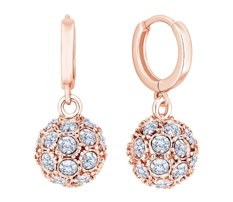 Crystal Ball Earrings in Rose Gold Plating