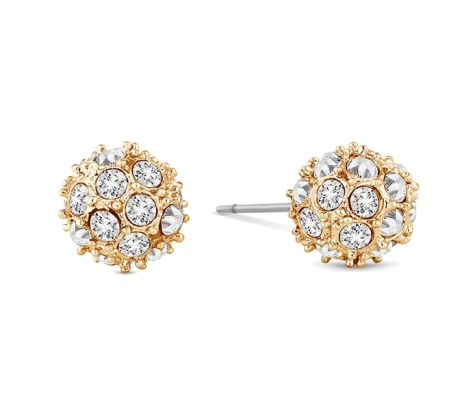 Crystal Ball Stud in Yellow Gold Plating