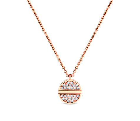 Crystal disc pendant in rose gold plating