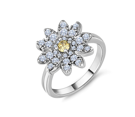 Daisy ring in rhodium plating