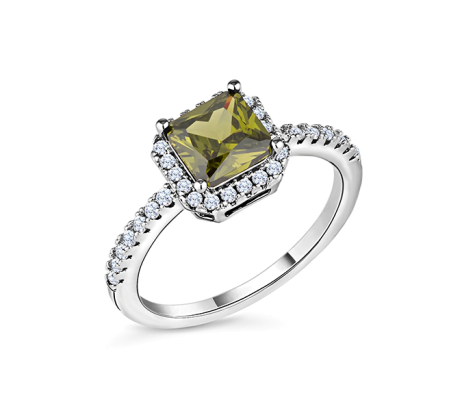 Green halo ring in rhodium plating size 6