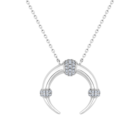 Horn Necklace in Rhodium Plating with Crystals