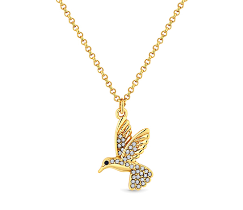 Hummingbird Pendant in yellow gold plating with crystals