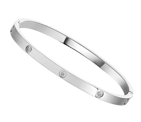 Love bangle small with crystals in rhodium plating