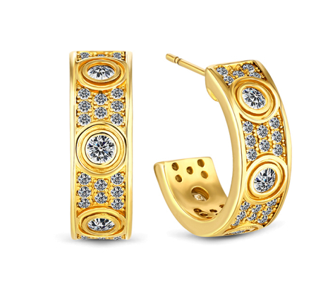 Love Earring with crystals in gold plating