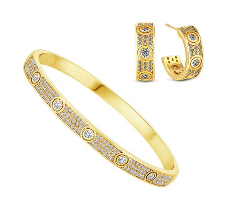 Love Bangle with Crystals and Love Earrings Crystal in Yellow Gold