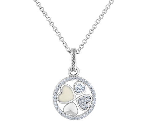 Multi Heart Pendant in Rhodium Plating with Crystals