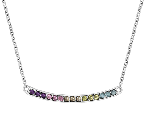 Necklace with Multi Coloured Crystals