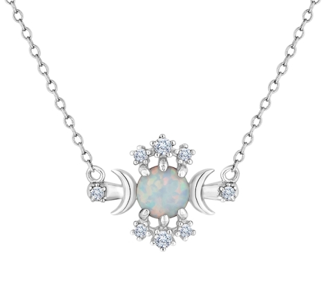 Opal Pendant in Rhodium Plating with Crystals