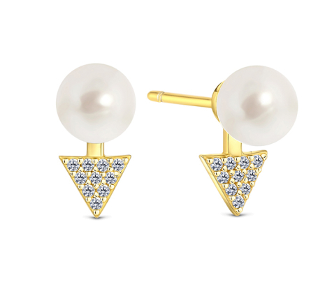Pearl triangle stud in gold plating with CZ stones