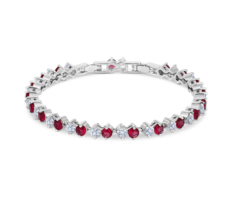 Purity Bracelet with Red Crystals and Extra Link