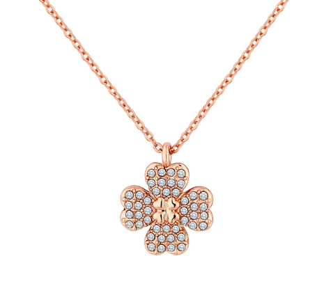 Reverse Flower Necklace with Crystals