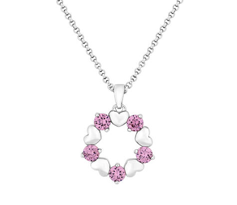 Ring-O-Ring Pendant with Pink Crystals