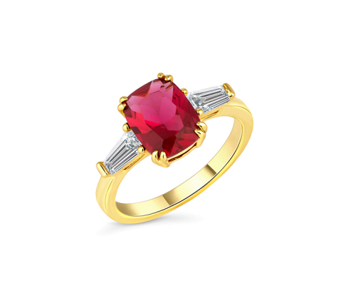 Ruby oval ring with clear side stones in yellow gold plating