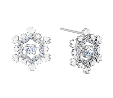 Snowflake Earrings with Crystals