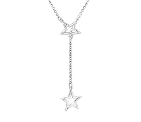 Star Lariat Necklace with Crystals