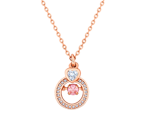 Rose Gold Plated Pendant with Pink Swinging Crystal