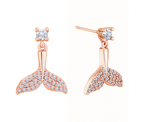 Tail earrings in rose gold plating with clear crystals