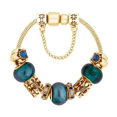Treasure Bracelet in Blue with Gold Plating - Small Size