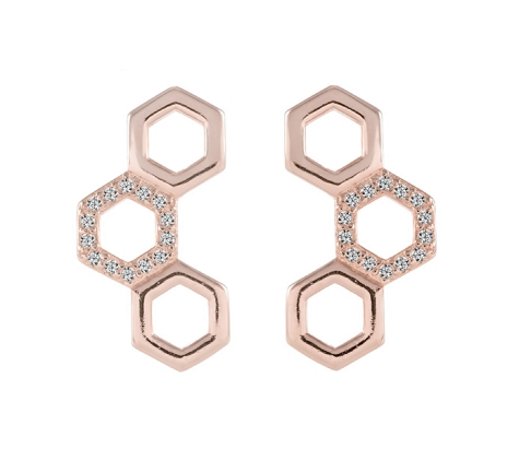 TriHex Earrings in Rose Gold