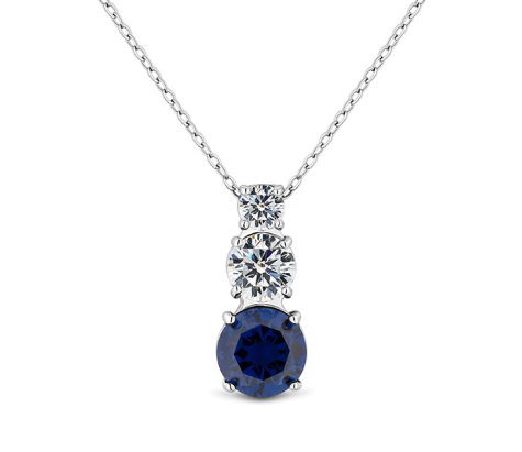 Trio Pendant with blue crystal