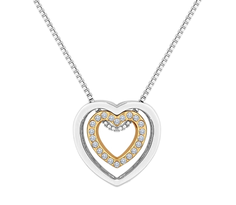 Two Tone Heart Pendant with Crystals