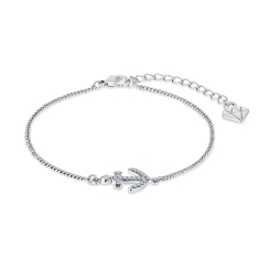 Anchor Bracelet in Rhodium Plating