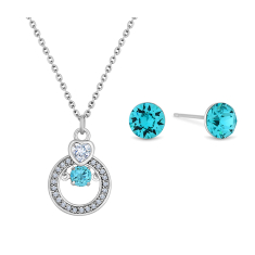 Aqua Colour Crystal Studs and Swing Pendant in Rhodium Plating with Blue Crystal
