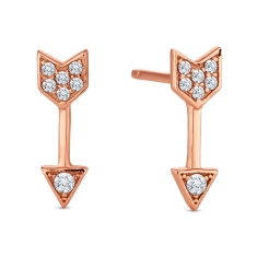 Arrow Stud Earrings in Rose Gold Plate