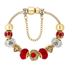 Ava Bracelet in Red and Gold Plating