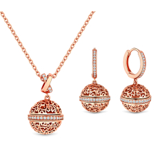 Ball Earrings and Pendant in Rose Gold